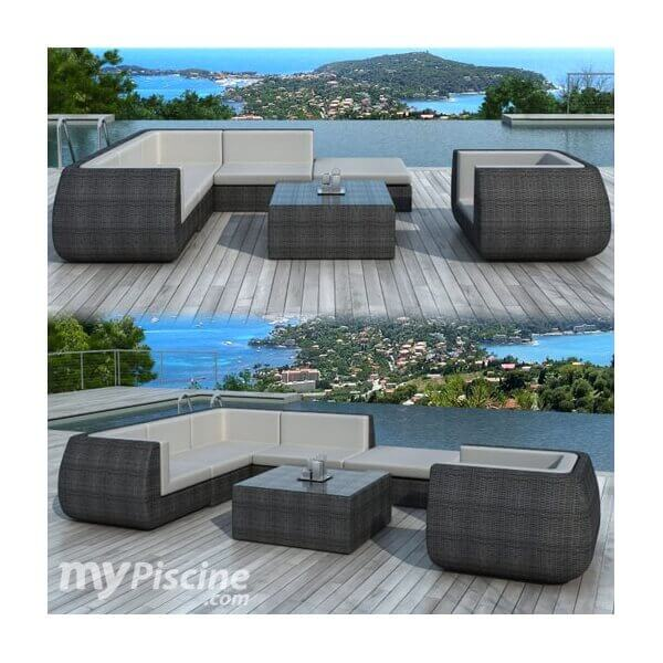 salon de jardin en r sine tress e duba 6 places mypiscine. Black Bedroom Furniture Sets. Home Design Ideas