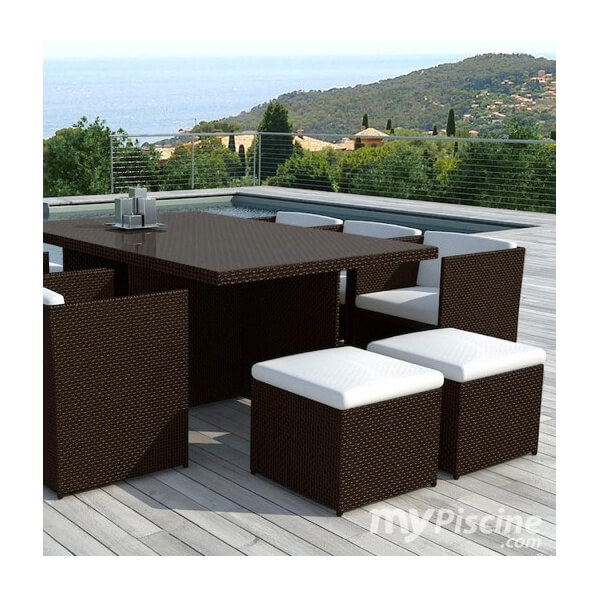 Table de jardin en r sine tress e cancun 10 places mypiscine - Table et chaise en resine tressee ...