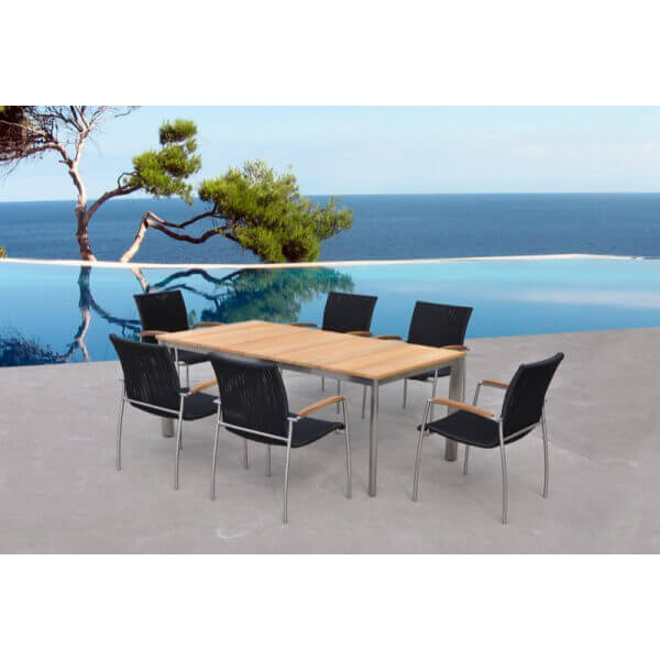 table et chaise de jardin melbourne 6 places mypiscine. Black Bedroom Furniture Sets. Home Design Ideas