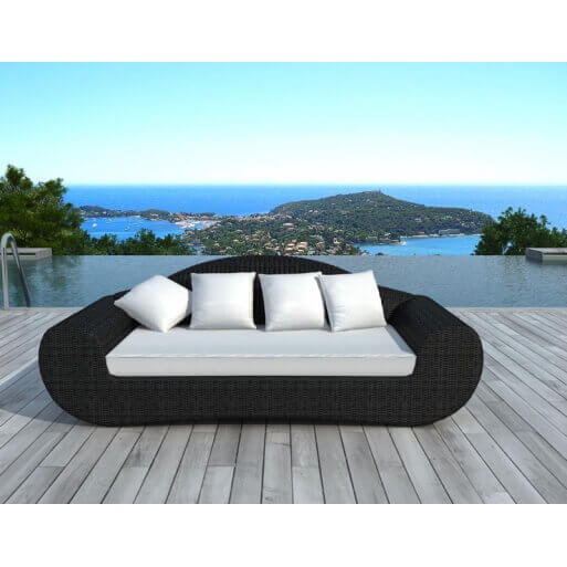 Salon de jardin rio 3 places en r sine tress e mypiscine for Coussin canape exterieur