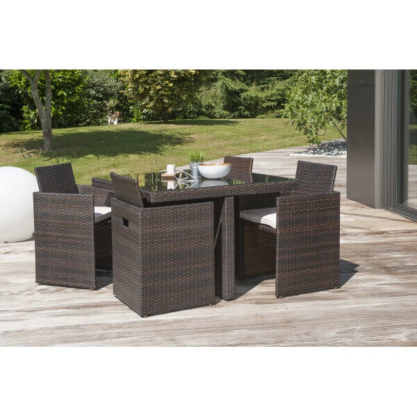 ensemble repas 4 places en r sine tress e chocolat mypiscine. Black Bedroom Furniture Sets. Home Design Ideas
