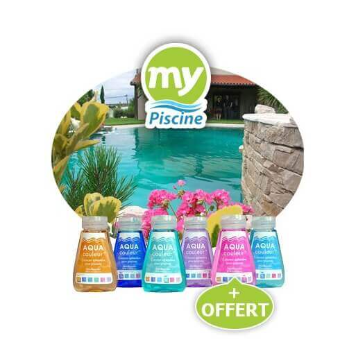 Colorants piscine aquacouleur pack de 5 flacons 1 offert for Aquacouleur piscine