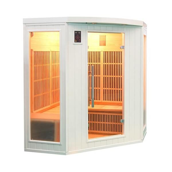 Sauna infrarouge soleil blanc 3 4 places france sauna mypiscine - Sauna infrarouge 4 places ...