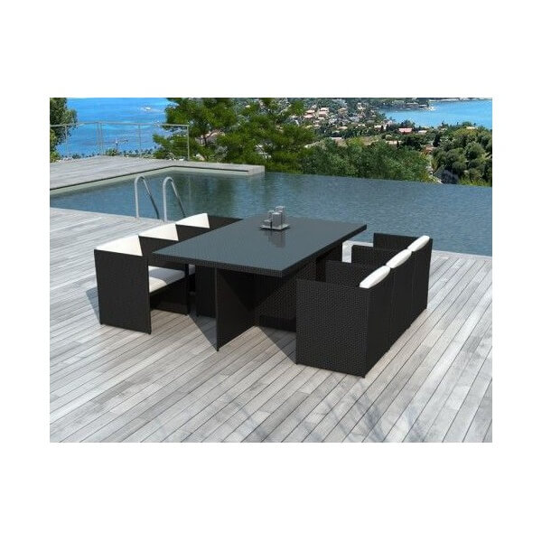 Salon de jardin malta 6 places mypiscine for Table et chaise de jardin resine tressee