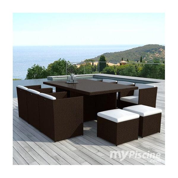 table de jardin en r sine tress e cancun 10 places mypiscine. Black Bedroom Furniture Sets. Home Design Ideas