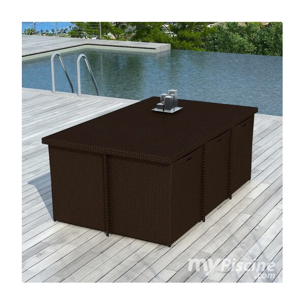 Table de jardin en r sine tress e cancun 10 places mypiscine - Table de jardin resine tressee ...