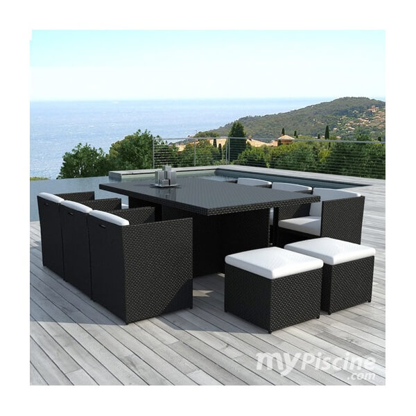table et chaises de jardin cancun 10 places mypiscine. Black Bedroom Furniture Sets. Home Design Ideas