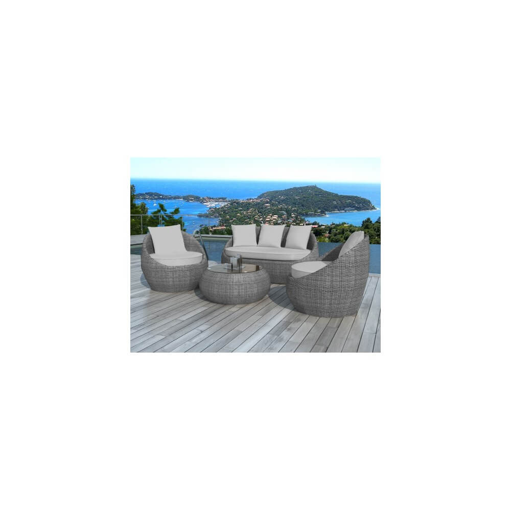 salon de jardin en r sine tress e ubud 5 places mypiscine. Black Bedroom Furniture Sets. Home Design Ideas