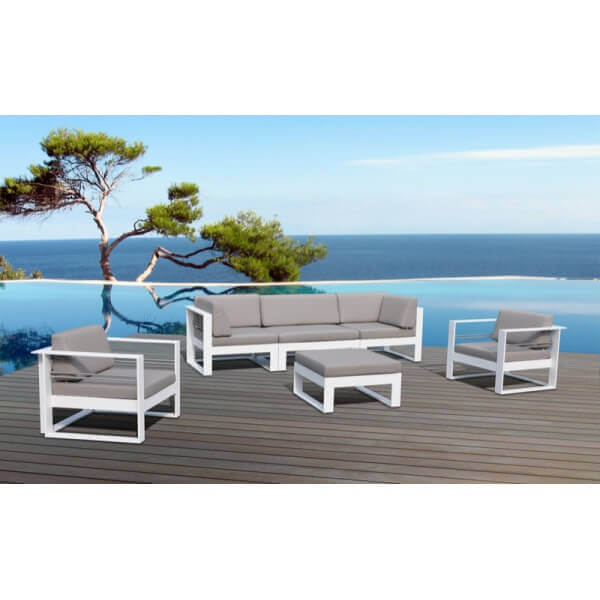 Salon de jardin en aluminium st tropez 6 places mypiscine - Salon de jardin 5 places ...