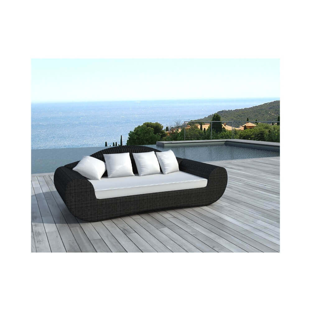 canap ext rieur rio 3 places en r sine tress e coussins blancs mypiscine. Black Bedroom Furniture Sets. Home Design Ideas