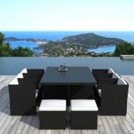 Table et chaises de jardin Cancun 10 places en résine tressée Noire