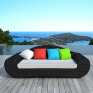 Canapé extérieur Rio 3 places en résine tressée - coussins colorés