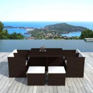 Table et chaises de jardin Cancun 10 places en résine tressée Chocolat