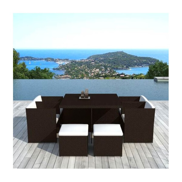 Table de jardin en r sine tress e cancun 10 places mypiscine for Table et chaise de jardin resine tressee
