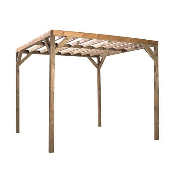 Tonnelle en bois kuba autoportante mypiscine - Tonnelle en bois pour jardin ...