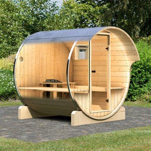 Sauna D Extérieur sauna d'extérieur karibu baril 1 - poêle de sauna 9 kw