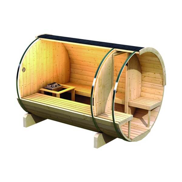 sauna d 39 ext rieur karibu baril 2 po le de sauna 9 kw. Black Bedroom Furniture Sets. Home Design Ideas