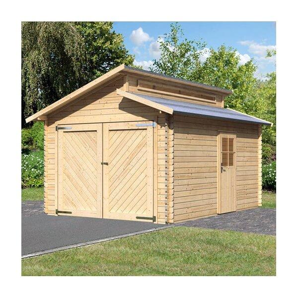 Garage en bois 28 mm Karibu MyPiscine # Garage Bois Avec Carport