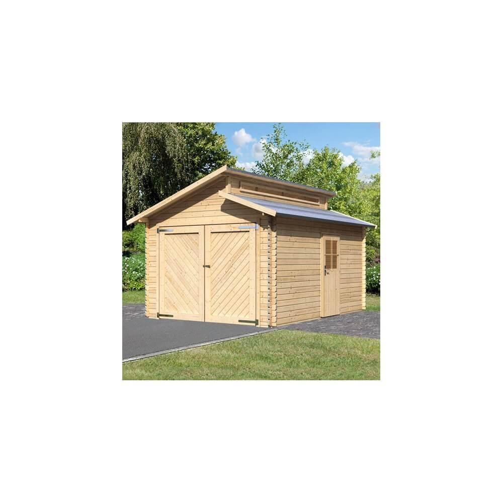 garage en bois 28 mm karibu mypiscine. Black Bedroom Furniture Sets. Home Design Ideas
