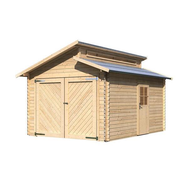 Garage en bois 28 mm karibu mypiscine for Garage bois traite