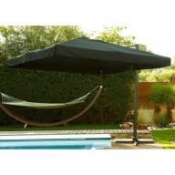Parasol aluminium carré avec pied excentré 3x3m - NOIR