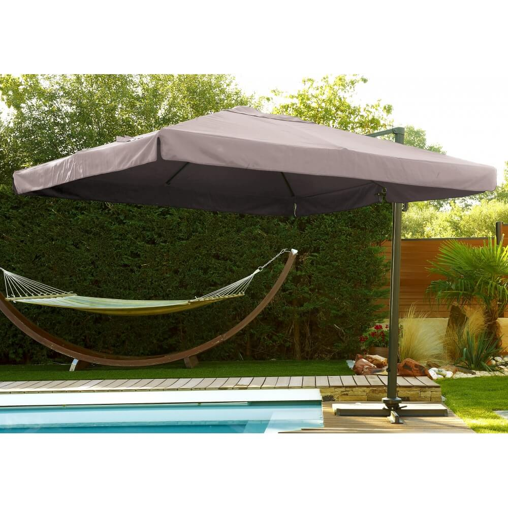 parasol taupe aluminium carr avec pied mypiscine. Black Bedroom Furniture Sets. Home Design Ideas
