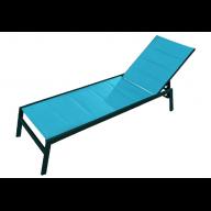 Chaise longue PACIFIC aluminium & textilène - TURQUOISE