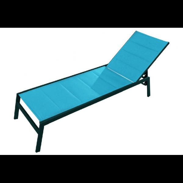 Chaise longue pacific alu et textil ne turquoise mypiscine for Chaise aluminium textilene