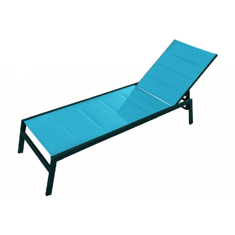chaise longue pacific alu et textil ne turquoise mypiscine. Black Bedroom Furniture Sets. Home Design Ideas