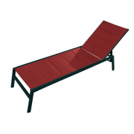 Chaise longue PACIFIC aluminium & textilène - CORAIL