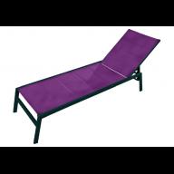 Chaise longue PACIFIC aluminium & textilène - PRUNE