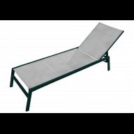 Chaise longue PACIFIC aluminium & textilène - GRIS