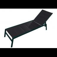 Chaise longue PACIFIC aluminium & textilène - NOIR