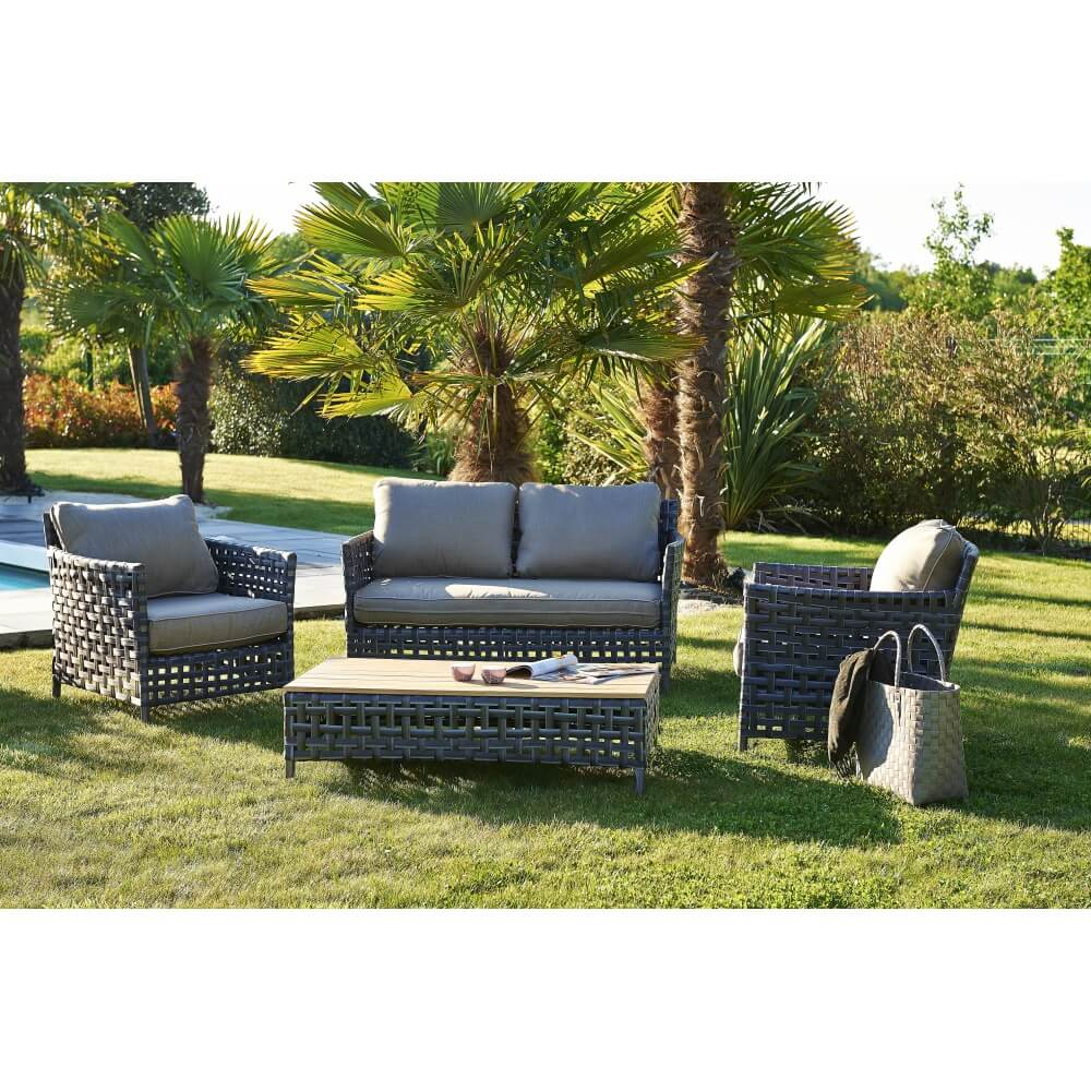 salon de jardin en r sine tress e riade mypiscine. Black Bedroom Furniture Sets. Home Design Ideas