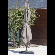 Parasol aluminium avec pied excentré 4x3m - GRIS