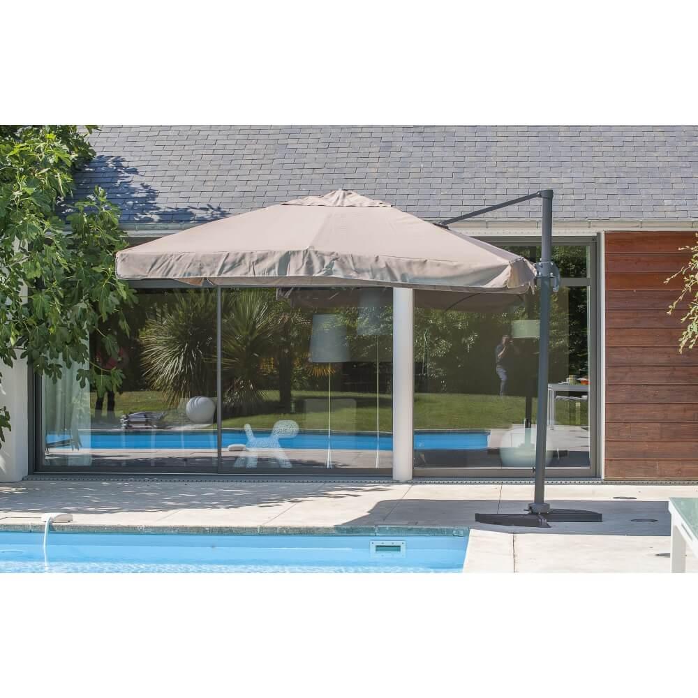 parasol taupe aluminium carr avec pied mypiscine. Black Bedroom Furniture Sets. Home Design Ideas