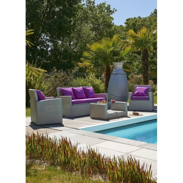 Salon de jardin 5 places gris et fuschia pvc med for Salon de jardin pvc gris