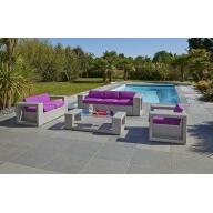 Salon de jardin Méditerranée Design 6 places en résine tressée – GRIS SIDERAL