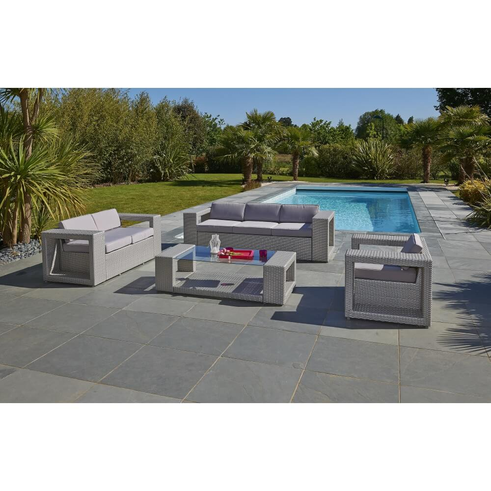 Salon de jardin m diterran e 6 places mypiscine - Salon de jardin 6 places resine tressee ...