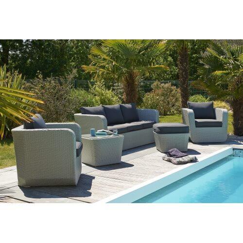 Salon de jardin Portovecchio 6 places en résine tressée – GRIS ...