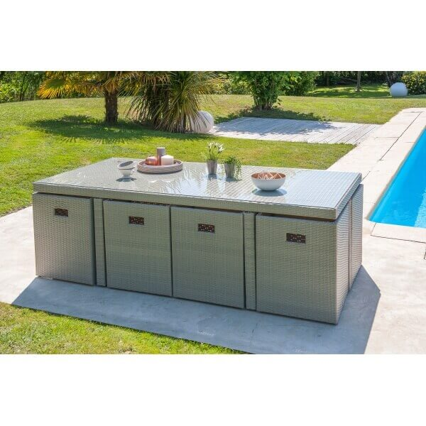 Ensemble repas 8 places en r sine tress e grise mypiscine for Table de jardin en verre