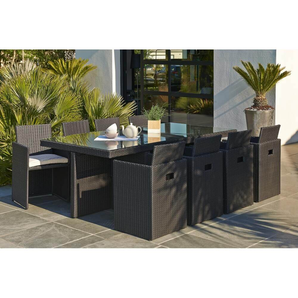 ensemble repas 8 places en r sine tress e noir mypiscine. Black Bedroom Furniture Sets. Home Design Ideas
