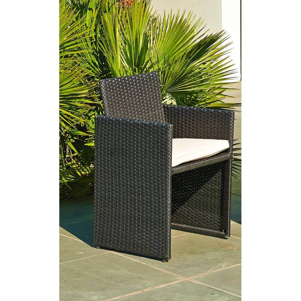Ensemble repas 8 places en r sine tress e noir mypiscine - Table de jardin encastrable ...