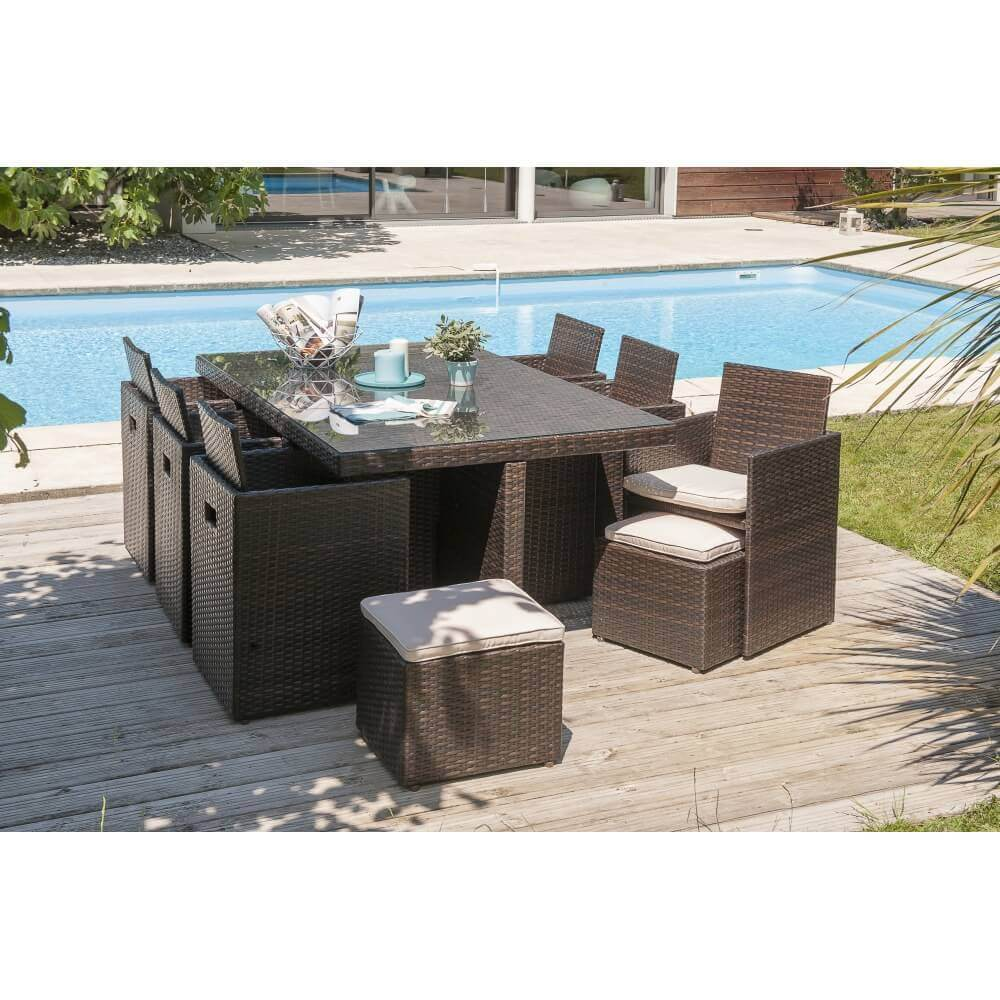 Table encastrable 10 places chocolat en r sine et verre mypiscine - Table de jardin encastrable ...