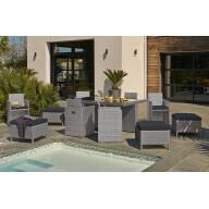 Table de jardin encastrable 10 places en résine tressée et verre - Grise