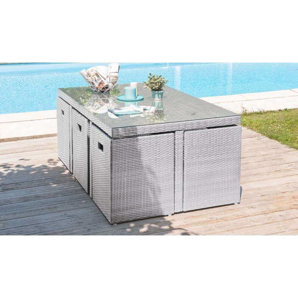 Ensemble repas 10 places en r sine tress e grise mypiscine - Table de jardin encastrable ...