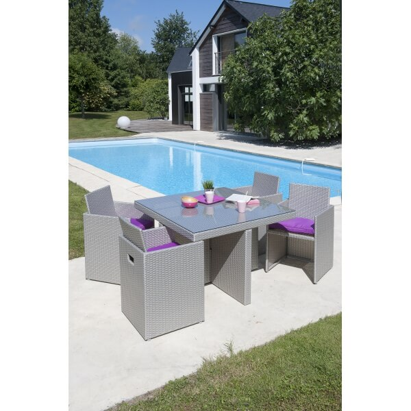 Stunning table de jardin resine et verre pictures for Table de jardin resine tressee gris