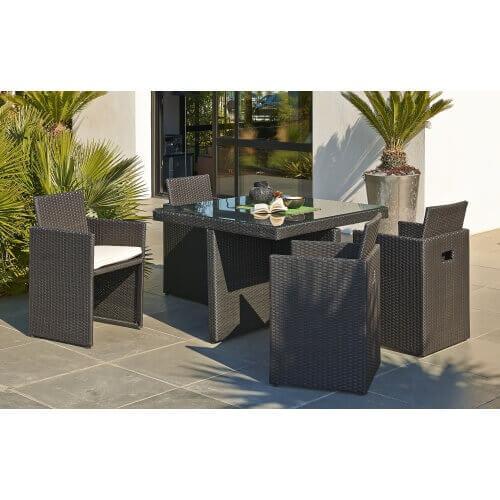 Table de jardin encastrable 4 places en résine et verre - Noir
