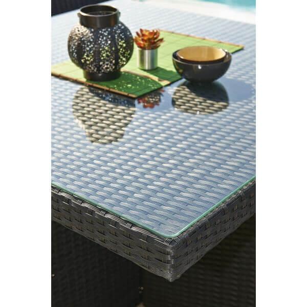 Ensemble repas 4 places en r sine tress e noire mypiscine - Table de jardin en resine en solde ...