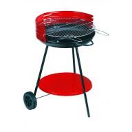 Barbecue à charbon rond 50B rouge avec Pare-feu